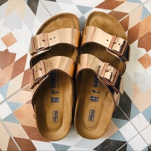 Birkenstock // Arizona Sandal in Rose Gold